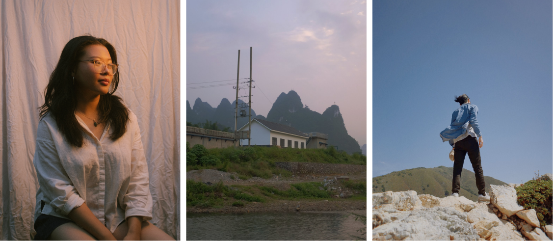 Photo 1: Valerie shot in warm lighting. Photo 2: Old town in China. Photo 3: Man standing at top of a rock.